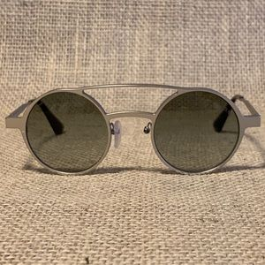 Prada Sunglasses Brushed Silver Gray Round Lenses